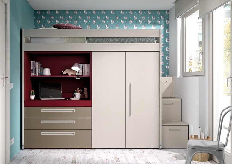Wardrobe with a Mezzanine Loft - interior design building design building interior design home interior home interiors near me interior in hosa road bangalore hosur road