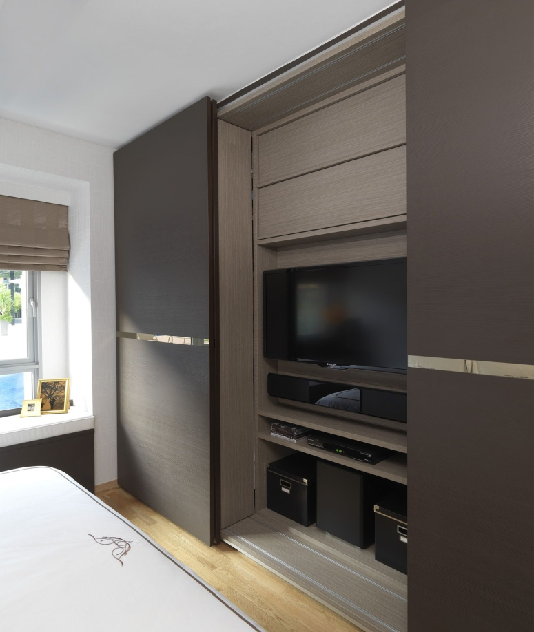 Wardrobe with TV Space - apartments interior designers in bangalore famous interior designers in bangalore good interiors in bangalore
