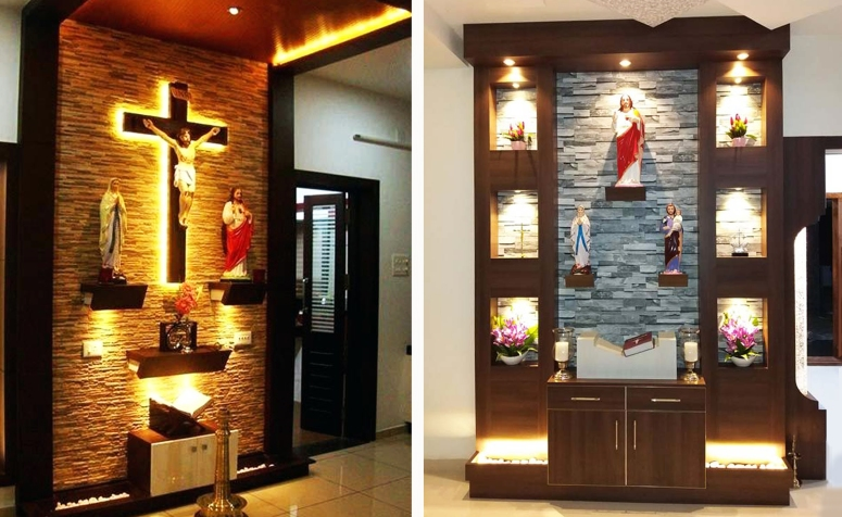 Catholic prayer room design by Interior Era Bangalore Best interior desingn in bangalore electronic city christian prayer hall or room interiors