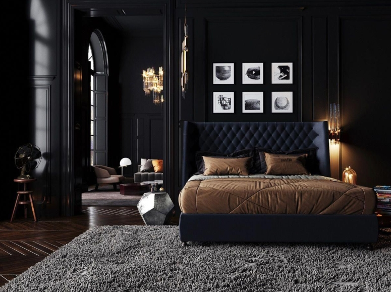 Bedroom Interior_Bedroom Space_Dark Bedroom_Black themed Bedroom Style_Small Bedroom Decorating Ideas_Small Bedroom Ideas to Create a Stylish Space_interiors near me