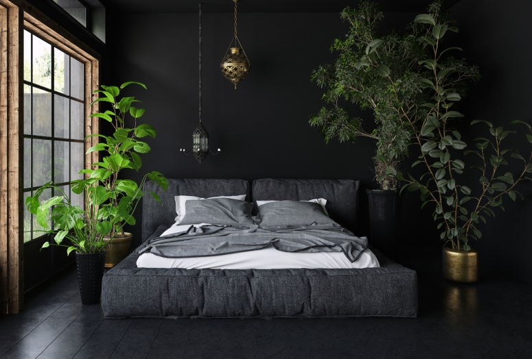 Bedroom Interior_Black Theme Bedroom_Dard Color Bedroom_Bedroom Decorating Ideas_Large Bedroom Interior Design_Bedroom Design Ideas_Best Interiors in Electronic City_Good Interior_Best Interior Design