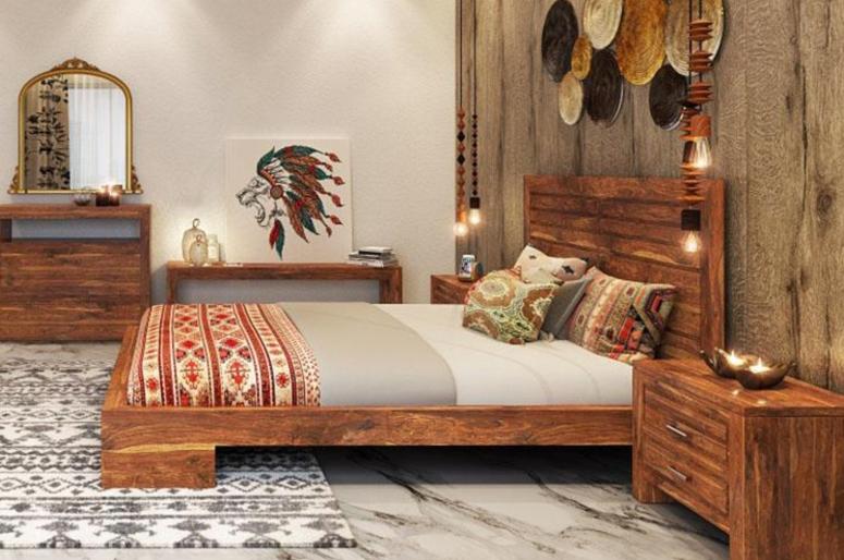 Bedroom Interior_Teak Wood Bedroom Interiors_Teak Wood Bed_Teak Wooden Cot_Teak Wood Furnitures for Bedrooms_Best Interior design for Home Interiors_Electronic City Interior Design