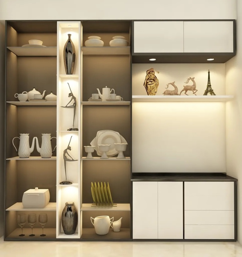 Crockery Unit Design_Crockery Unit Design for Living Area_Electronic City Interiors_Display Crockery_Electronic City Interiors_Good Interiors in Electronic City